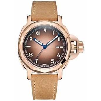 ParnisスカルSeriers光メンズレザーバンドファッション自動機械腕時計腕時計ローズゴールドCase Coffeダイヤル
