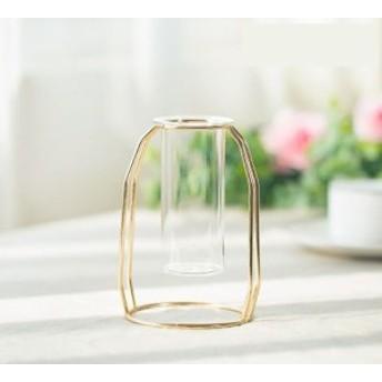 フラワーベース 試験管風 ガラス製 花瓶モチーフのワイヤースタンド (小)