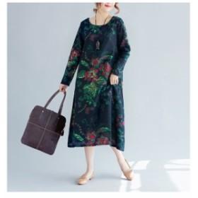 エレガント ワンピース ミモレ丈 花柄 フレア 膝下  長袖 大きいサイズ リゾート ワンピ きれいめ