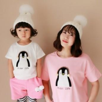 親子ペアルック 大人気!ペンギン柄でかわいい半袖Tシャツ ママ 子供 子ども 夏服 トップス キャラクター 半袖 女の子 男の子