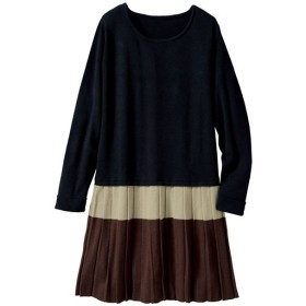 40%OFF【レディース大きいサイズ】 裾プリーツニットチュニック - セシール ■カラー:ブラック系 ■サイズ:LL,3L,L,4L
