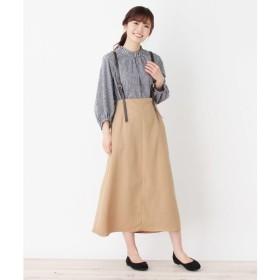 3can4on / サンカンシオン 【2WAY】【洗える】合皮サスペンダー付きスカート