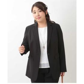 eur3 【大きいサイズ】ストレッチテーラードジャケット テーラードジャケット,ブラック