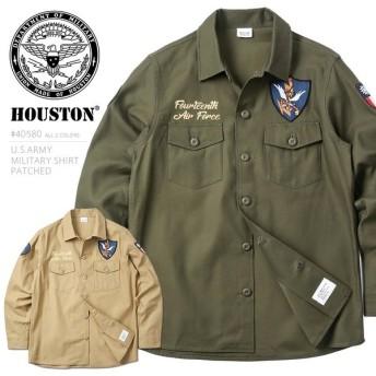HOUSTON ヒューストン 40580 U.S.ARMY ミリタリーシャツ PATCHED メンズ 長袖 刺繍 ワッペン パッチ ブランド 2019 春 新作
