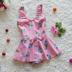ワンピース水着 女の子 キッズ 子供 アイスクリーム柄 スイムウェア 水着 Vネック フレア ☆ピンク・イェロー 2色