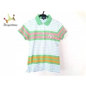 パーリーゲイツ 半袖ポロシャツ サイズ1 S レディース ライトグリーン×ピンク×マルチ ボーダー  値下げ 20190706