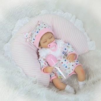 リボーンドール リアル赤ちゃん人形 かわいいベビー人形 衣装とおしゃぶり・哺乳瓶付き クローズアイ 睡眠中の乳児ちゃん