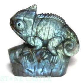 ☆置物一点物☆【天然石 彫刻置物】カメレオン ラブラドライト No.35