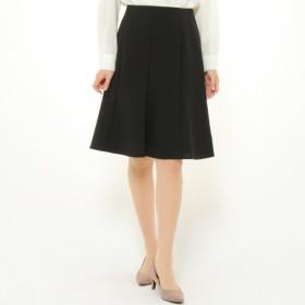 スカート レディース ロング しわになりにくい膝下フレアスカート[日本製] 「ブラック」