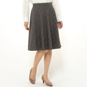 スカート レディース ロング グレンチェック美人サーキュラースカート[日本製] 「グレー×ブラック」