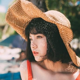 帽子 レディース 麦わら帽子 UV 折りたたみ帽子 つば広 ハット 紫外線対策 UVハット 夏 つば広帽子 大きいサイズ 小顔効果 日よけ帽子