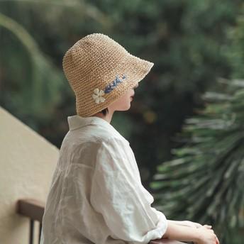 麦わら帽子ハット★ハット 帽子 麦わら シンプル ベーシック リボン 女優帽 フラット レディース 春夏 リゾート ガーリー 小物 アクセ UVカット 日よけ キャップ