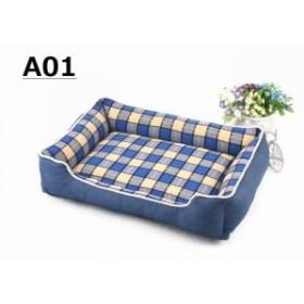 犬 寝具 ベッド チェック柄 角型 クッションベット  ペットベッド  ソファ ベット  通年用 お洒落 サイズ約604515CM 取り外し可能