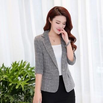 テーラードジャケット レディース リネン ジャケット 7分袖サマージャケット ショート丈 薄手おしゃれ 夏 吸汗速乾 涼しい オフィス 仕事