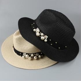 レディース 大きいサイズ 麦わら帽子 UV 折りたたみ帽子 つば広 ハット 紫外線対策 UV 無鉄線の麦わら真珠帽子