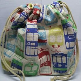 【入園·入学に】電車柄のお弁当袋 巾着