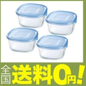 iwaki(イワキ) 耐熱ガラス 保存容器 550ml×4点セット 角型 アクアブルー NEWパック&レンジ KBT3240HBL