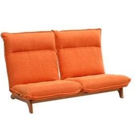 【最大39%還元】BIGバーゲン対象 リクライニングチェア/リクライニングソファー [2人掛け/オレンジ] ファブリック布地  木製脚 ハイバッ