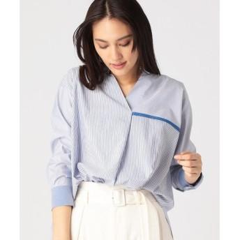 COMME CA / コムサ 先染めストライプビッグシルエット抜け襟シャツ