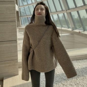セーター女性秋/冬の新しい韓国語版シックな怠惰な風高襟ファッションプルオーバーセーターピュアカラー長袖トップ潮