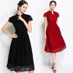 ドレス レディース 短袖 お呼ばれ ミモレ丈 レース パーティドレス フォーマル 二次会 結婚式ワンピース 黒・赤 大きいサイズXXL