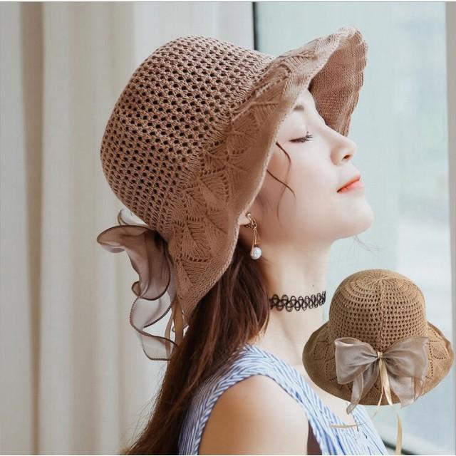 夏の必備! レディース帽子 リボンつけ 韓国ファッション UVカット 紫外線対策 麦わら帽子 小顔効果 大人らしい可愛いハット・帽子 つば広ハット