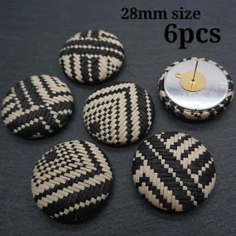 【cbtt404】【Black 6個】28mmサイズ 編み紐包みボタン ピアス/イヤリング/カボション/麻