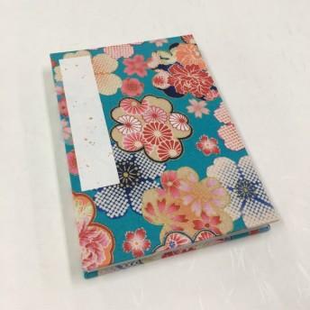 水色 日本の花模様/御朱印帳【中】