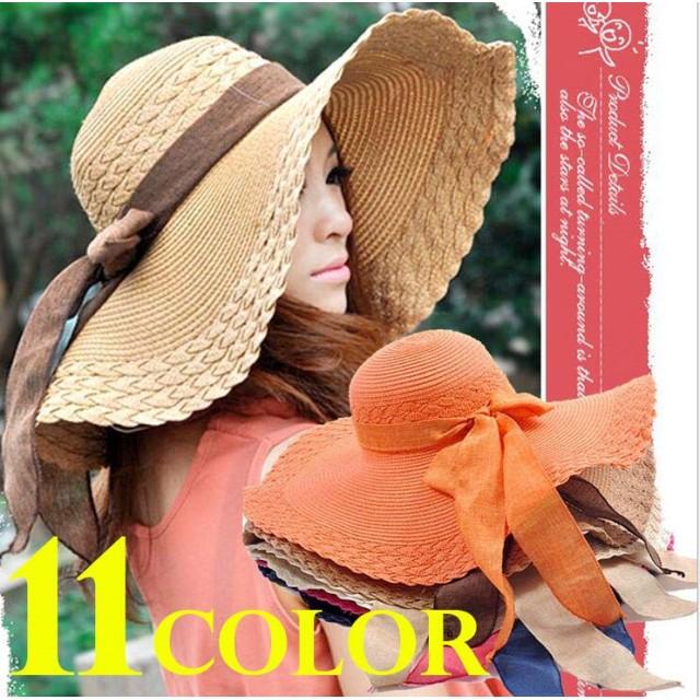 麦わら帽子 折りたたみ 女性用帽子 レディースハット 中折れハット リボン付帽子ストローハット 紫外線対策 UVハット 夏 海 上品でキュートな形