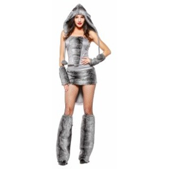 送料無料 ハロウィン衣装 コスプレ衣装 仮装 コスチューム 動物 狼 セクシー オオカミ ファー アニマル レディース 女性 パーティー