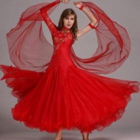 【サイズ選択可】社交ダンス ドレス スタンダード モダン デモ ダンス衣装 競技ダンス レッド 赤