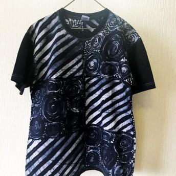【送料無料】L/ろうけつ染Tシャツ/藍染のパターンワーク