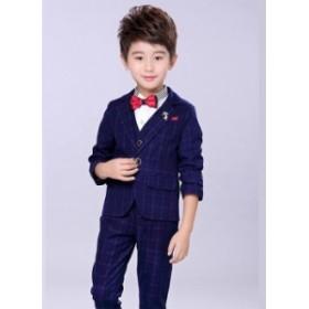 英国風 チェック柄 子供スーツ3点セット フォーマルスーツ タキシード 紳士服 セレブ 男の子 ジュニア キッズスーツ