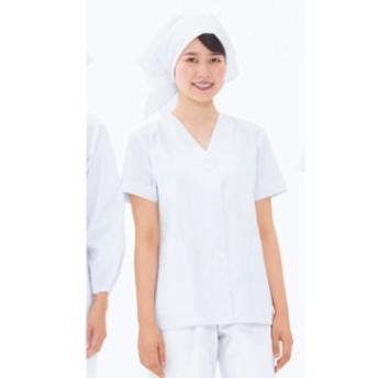NP422 女性用食品衣半袖(衿なし) (白 ホワイト ナガイレーベン 制服 給食エプロン 白衣 調理 調理用白衣 通販 白衣ネット)