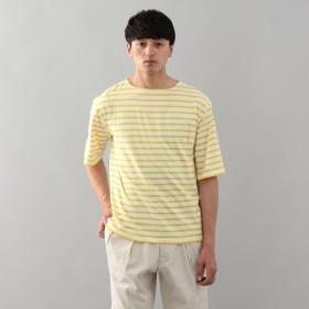 SALE【エムピー ストア(MP STORE)】 カラーボーダー ボートネックTシャツ イエロー