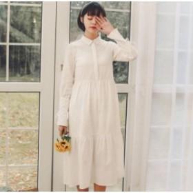 2019☆春新作!!袖のスリット&リボンがレトロで可愛い、ナチュラル系、フレアシャツワンピース♪春ワンピ☆C31345