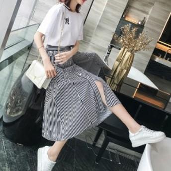 スカート セットアップ 2点セット Tシャツ 半袖 ミモレスカート ストライプ レディース フェミニン 春夏 Good Clothes