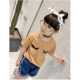 F 新作 子供服 Tシャツ 夏 韓国子供服 半袖 Tシャツ 女の子 無地シンプル Tシャツ 子供 Tシャツ お嬢様風 カジュアル Tシャツ LF217