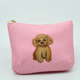 トイプードル刺繍 ポケットティッシュポーチ〈ピンク〉