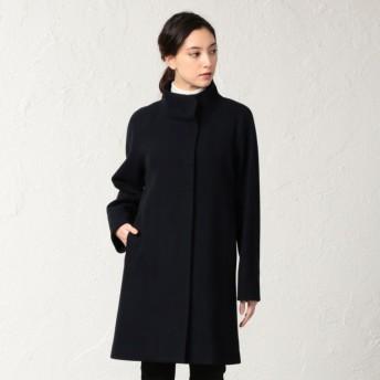 【サンヨー コート ウィメン(SANYO COAT WOMEN)】 <Flat-Seam COAT>ウールジャージースタンドカラーコート ネイビー