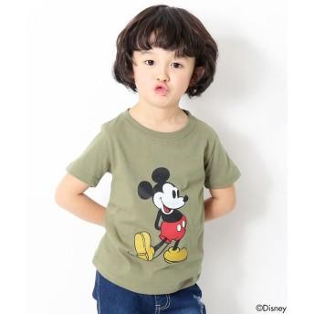 デビロック かすれミッキープリント半袖Tシャツ カットソー ユニセックス カーキ 140 【devirock】