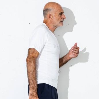 Tシャツ - SHIFFON LEON 4月号掲載 1PIU1UGUALE3RELAX(ウノピゥウノウグァーレトレ)ラインストーンRELAXロゴVネックTシャツ(ホワイト/ネイビー/ブラック)