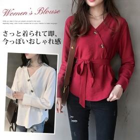 韓国ファッション ブラウス レディース Vネック とろみブラウス ゆったり シャツ 長袖 トップス 大きいサイズ 着痩せ 可愛い