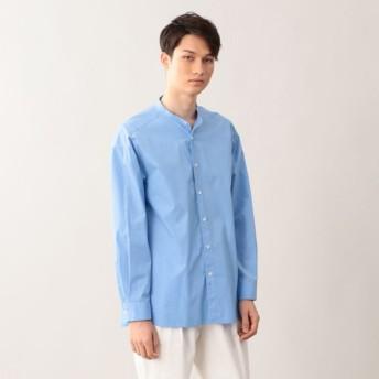 SALE【エムピー ストア(MP STORE)】 スーピマタイプライター バンドカラーシャツ ブルー