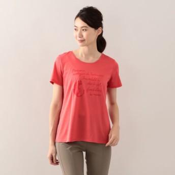 SALE【エヴェックス バイ クリツィア(EVEX by KRIZIA)】 【L】【ウォッシャブル】メッセージアニマルプリントTシャツ ピンク