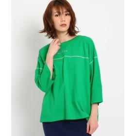 【40%OFF】 オゾック [洗える]ステッチ使いロゴTシャツ レディース グリーン(022) 38(M) 【OZOC】 【セール開催中】