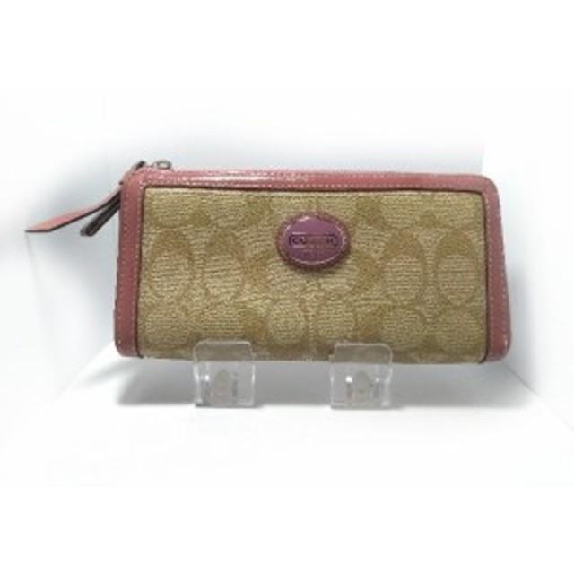a8b87c73b1f0 コーチ COACH 長財布 レディース シグネチャー柄 ベージュ×ピンク PVC(塩化ビニール)×