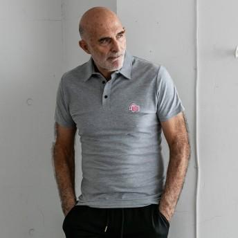 ポロシャツ - SHIFFON 1PIU1UGUALE3 RELAX(ウノピゥウノウグァーレトレ)オリガミ刺繍ワッペンポロシャツ(ホワイト/グレー/ネイビー/ブラック)