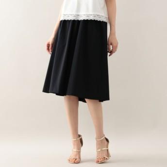 SALE【アマカ(AMACA)】 スパンライクタイプライターフレアースカート ブラックネイビー