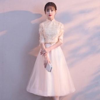 ミディアム丈ドレス 5分袖 Aライン ドレス パーティー 二次会 結婚式ドレス 発表会ドレス 司会 パーティードレス 20代30代 4色